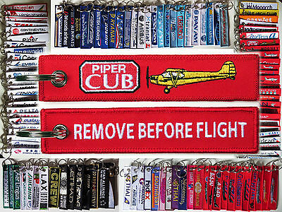 Keyring PIPER CUB J-3 Pilot RED Remove Before Flight tag keychain