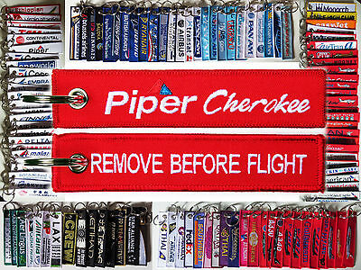 Keyring PIPER CHEROKEE Pilot RED Remove Before Flight tag keychain