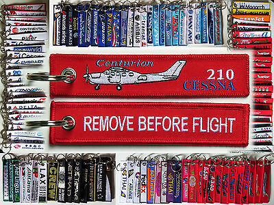 Keyring CESSNA 210 Centurion Pilot RED Remove Before Flight tag keychain