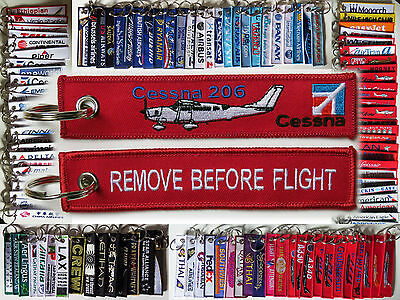 Keyring CESSNA 206 Super Skywagon Pilot RED Remove Before Flight tag keychain