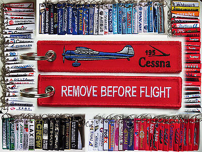Keyring CESSNA 195 Pilot RED Remove Before Flight tag keychain LC-126