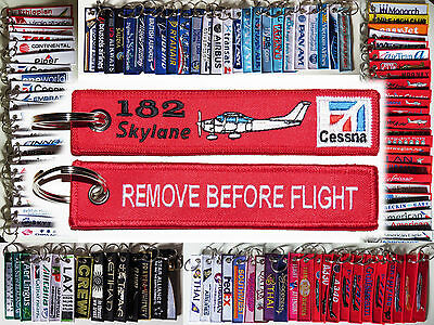 Keyring CESSNA 182 Pilot RED Remove Before Flight tag keychain