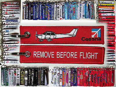 Keyring CESSNA AIRPLANE Pilot RED Remove Before Flight tag keychain C150