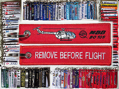 Keyring HELICOPTER Bölkow BO 105 Remove Before Flight tag keychain