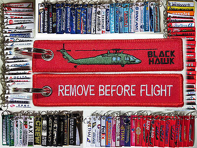Keyring HELICOPTER BLACK UH-60 HAWK Remove Before Flight tag keychain