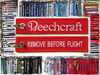 Keyring BEECHCRAFT Company RED Remove Before Flight tag keychain