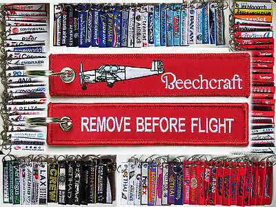 Keyring BEECHCRAFT BONANZA 35 RED Remove Before Flight tag keychain