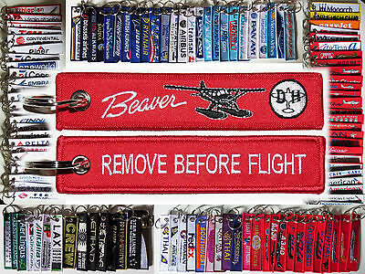Keyring de Havilland Canada DHC-2 Beaver RED Remove Before Flight tag keychain