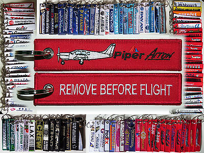 Keyring PIPER ARROW PA-28 red Remove Before Flight tag keychain