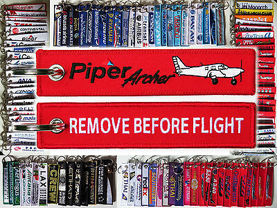Keyring PIPER ARCHER PA-28 red Remove Before Flight tag keychain