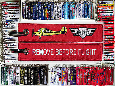 Keyring AERONCA AIRCRAFT red Remove Before Flight tag keychain 7 champion