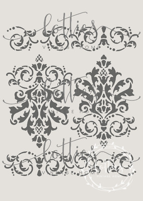 A4 Stencil DAMASK BORDER ❤ Furniture Shabby Chic French Vintage 190 MYLAR