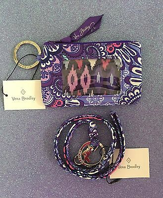 NEW Vera Bradley | Lilac Tapestry Zip ID Case and Lanyard