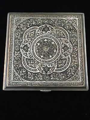 Beautiful Persian Antique Silver Square Box 258.5G