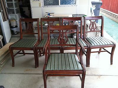 1930 DUNCAN PHYFE ANTIQUE MAHOGANY DROP LEAF DINING TABLE + 8 Chairs