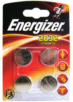 4 X Energizer CR2032 3V Lithium Coin Cell Battery 2032 With Retail Pack