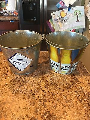 Corona Extra Beer Bottles Design Metal Ice Bucket Lot Of 2