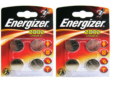8 X Energizer CR2032 3V Lithium Coin Cell Battery 2032 With Retail Blister Pack