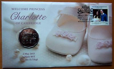 2015 AUSTRALIA  PRINCESS CHARLOTTE OF CAMBRIDGE PNC STAMP & 50c COIN COVER