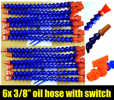 "6 x 3/8"" Flexible Plastic Water Oil Coolant Pipe Hose for Lathe CNC Switch"