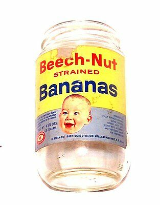 50's Beech Nut Baby Food Bananas Jar Container Cup Glass Can VGX No Risk Offer