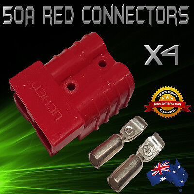 4 x RED ANDERSON STYLE 50 AMP PLUG/CONNECTORS suit 12V DUAL BATTERY 50a