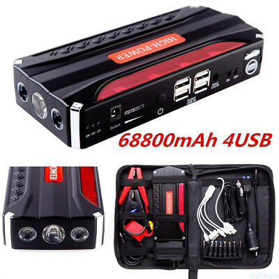 HOT! 68800mAh Car Jump Starter Pack Booster Battery Charger 4 USB Power Bank