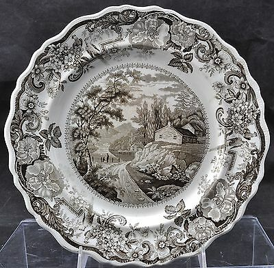 Clews Brown Transfer Fishkill Hudson Historical Staffordshire Plate 1825