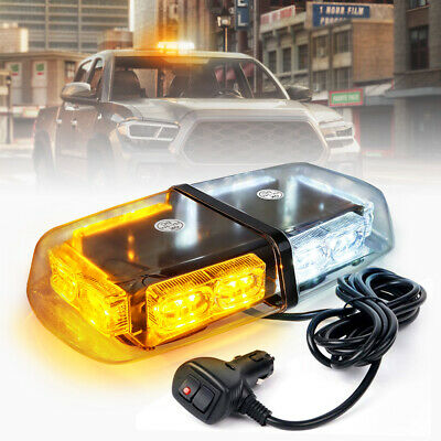 "Security System Emergency Rooftop LED Strobe 12"" Mini Lights Bar White Amber"