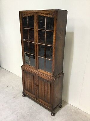 Antique Oak Linenfold Library Bookcase 4 Door Good Colour Display Cabinet