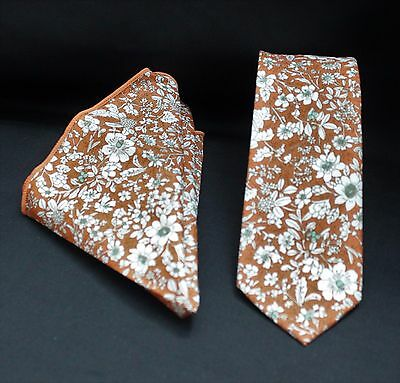 Tie Neck tie with Handkerchief Slim Lt Brown / White Floral Quality Cotton MTA14