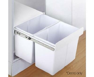 40L Pull Out Rubbish Garbage Waste Trash Cupboard Cabinet Kitchen Bin 2 Sections