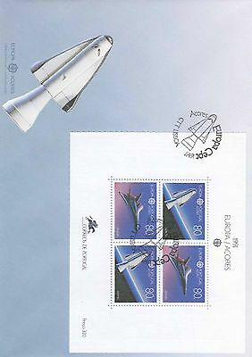 86.472/ Portugal Block FDC  1991 Europa Cept Space