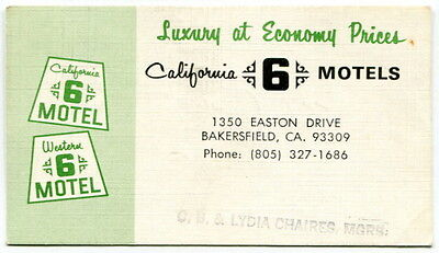 """Old Business Card: """"California 6 Motels"""" [Bakersfield, Calif]"""
