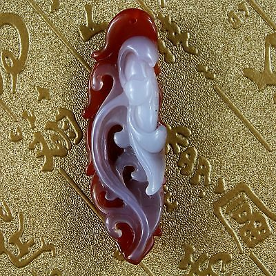 Chinese hand carved 100% Natural Agate flower design Pendant A6515