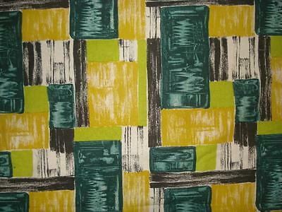 Vintage Mid-Century Fabric by Wemco Geometric Screenprint