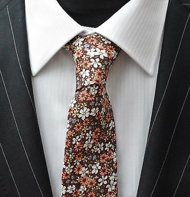 Tie Neck tie with Handkerchief Slim Brown with Floral Quality Cotton MTA19