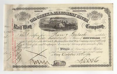 1874 Oil Creek and Allegheny River Railway Company Stock Certificate