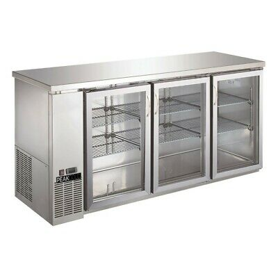 "Triple Glass Door Commercial Back Bar Cooler Stainless Steel - 72"" UBB-24-72GSS"