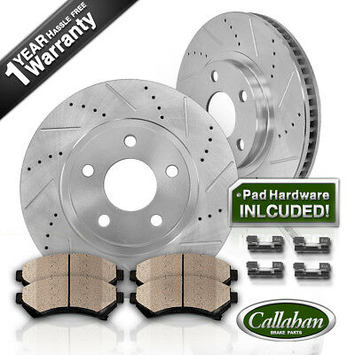 Front Drilled Slotted Brake Rotors & Ceramic Pads 2008 2009 - 2014 Cadillac CTS