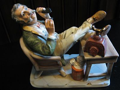 Vintage Norleans Old Man Sitting On Chair Feet Up With Cigar, Hand Painted Japan