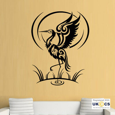 Wall Stickers Flamingo Tribal Bird Pond Sun Nature Animal Art Decal Vinyl Room