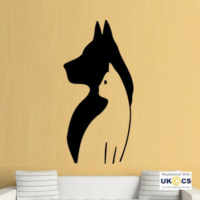 Wall Stickers Cat Dog Silhouette Cool Pets Animals Living Art Decal Vinyl Room