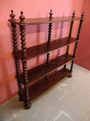 Antique French Solid Beech Bookcase/etagere Shelves And Bobbin Turned Columns
