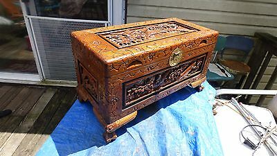 Carved Oriental Asian Wood Blanket Chest,Storage Trunk,Coffee Table,Bedroom Seat