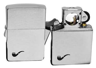 Zippo Pipe Lighter 200pl Brushed Chrome Windproof Pipe Theme NEW