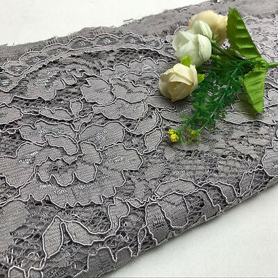 """Lace Fabric Eyelash Embroidery Flower Wedding Party Dress 59"""" Width By Metre"""