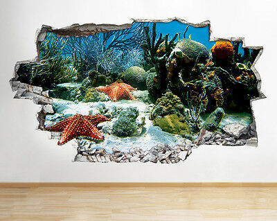 Wall Stickers Starfish Sea Reef Ocean Hall Smashed Decal 3D Art Vinyl Room C419