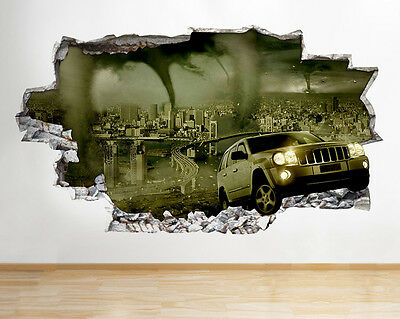 Wall Stickers Tornado City Jeep Living Hall Smashed Decal 3D Art Vinyl Room C363