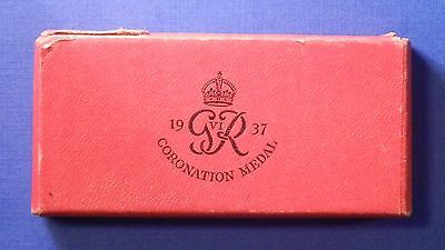 British King George Vi Coronation Medal 1937 Titled Box Of Issue Only     Ab0255